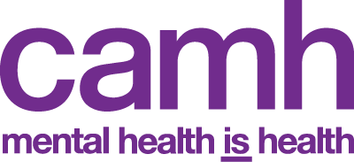 """CAMH Logo. A wordmark reading """"c a m h"""" with the tagline """"mental health is health."""""""