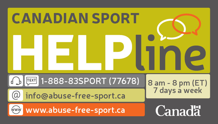 Image featuring the contact information for the Canadian Sport Help Line. 1-888-83-SPORT (77678)