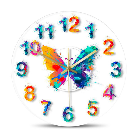 Horloge Murale LED papillon multicolore