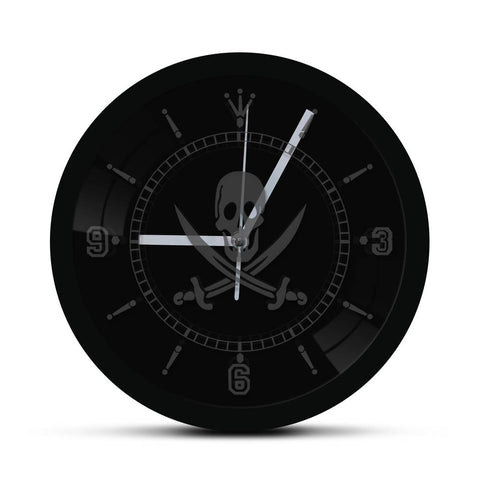 horloge murale led jolly roger pirate