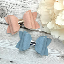 Load image into Gallery viewer, Pink & Blue Suede Beauty Bow, Alligator Clip, Nylon Headband, Bobble