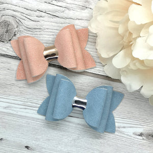 Pink & Blue Suede Beauty Bow, Alligator Clip, Nylon Headband, Bobble