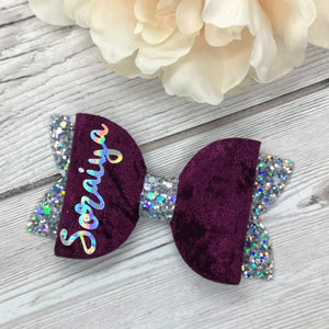 Plum Crushed Velvet Personalised Bow
