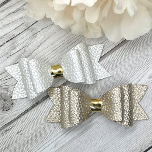 Ivory & Champagne Leatherette BeeBowz Original Bow, 2 Colours