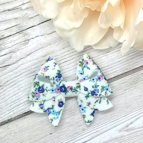Cream, Blue & Pink Floral Starlet Bow
