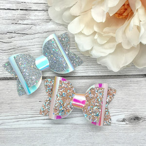 Iridescent Leatherette & Chunky Glitter Beauty Bows, 2 colours, 2 sizes