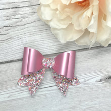 Load image into Gallery viewer, Pink Satin Leatherette & Chunky Glitter Franchi Mini Bow