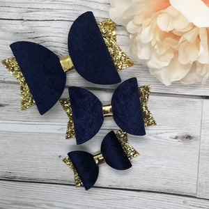 Navy Crushed Velvet & Gold Chunky Glitter Dolly Bow