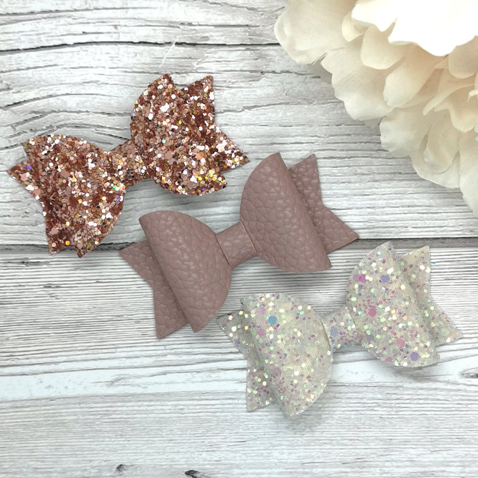 Nude Leatherette & Chunky Glitter Dolly Bows, 3 sizes