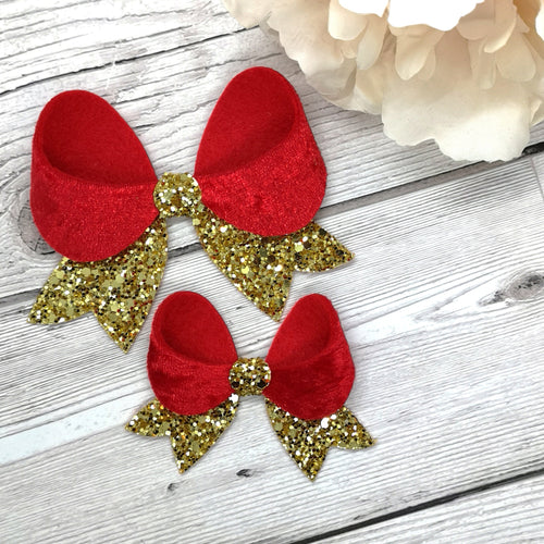 Red Crushed Velvet & Gold Glitter Franchi Fancy Bow