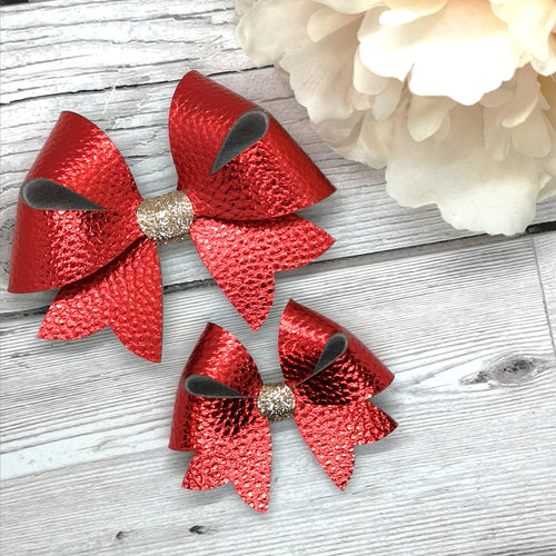 Red Metallic Leatherette Franchi Starlet Bow