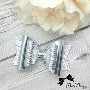 Silver Mirror & Leatherette Dolly Bow, 2 sizes