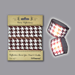 RR033HTBR Retro Reflective Dark Brown Houndstooth Band