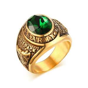 US Army Gold Overlay Ring Green Cubic Zirconia - Snag Your Treasure