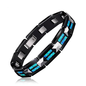 Natural Opal Tungsten Steel  and Black Ceramic  Bracelet - Snag Your Treasure