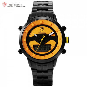 Shark Sport LCD Orange /Black Stainless Steel Digital Men's Watch - Snag Your Treasure