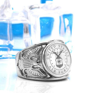 Air Force Men's Signet Stainless Steel Ring - Snag Your Treasure