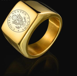 Gold Brushed U.S Stainless Steel Army Veteran Signet Ring - Snag Your Treasure