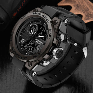 SANDA Men Military Sport Style Waterproof Black Watch - Snag Your Treasure
