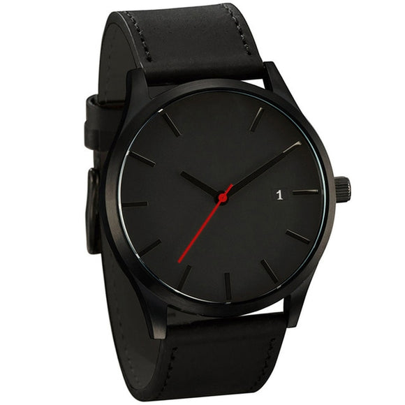 Minimalistic  Leather Quartz Watch For Men - Snag Your Treasure