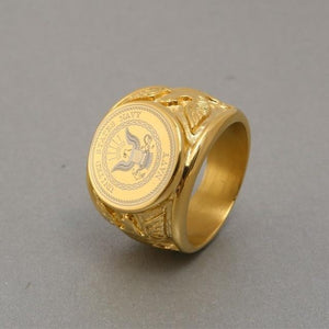 U.S  Eagle Golden Military Veteran Stainless Steel Ring - Snag Your Treasure