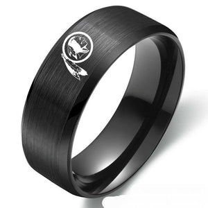 Washington Redskins Football Team Black Stainless Steel Band Ring - Snag Your Treasure