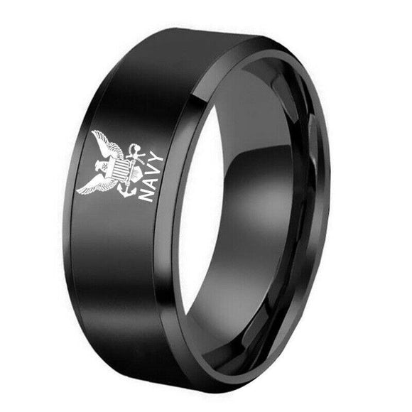 US Navy Military Veteran Contemporary Black  Stainless Steel Ring - Snag Your Treasure