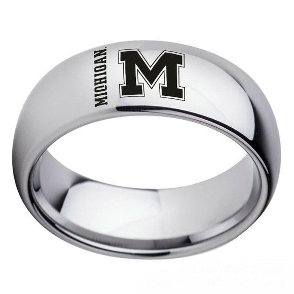 NCAA Michigan Wolverines Football Team Silver Stainless Steel Rings - Snag Your Treasure