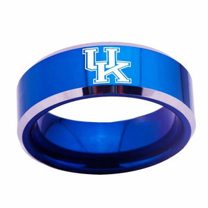 NCAA Blue Kentucky Wildcats Team Stainless Steel logo Sports Ring - Snag Your Treasure