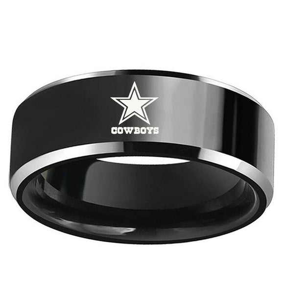 NFL Dallas Cowboys Logo Football Team  Black Stainless Steel Ring - Snag Your Treasure