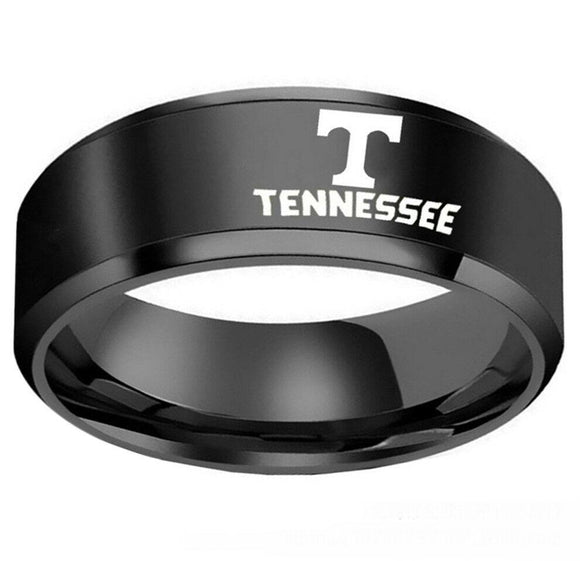 NCAA State of Tennessee Logo Black Stainless Steel  Ring Band - Snag Your Treasure