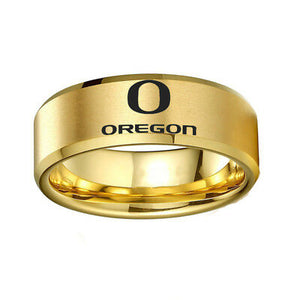 NCAA Oregon Ducks Sports Logo Stainless Steel Team Ring - Snag Your Treasure