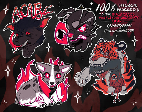 acab beasts sticker sheet