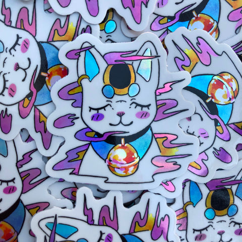 holo lucky cat sticker