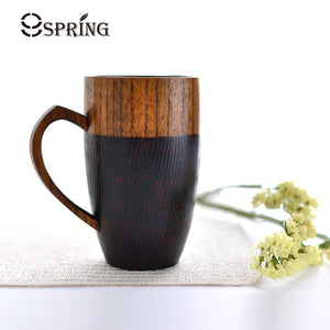 1 Piece Premium Wood Cup 320ml Large Capacity Wooden Drinking Cup Handmade Wooden Coffee Tea Mug Red/Black Couple Mug Fancy Gift