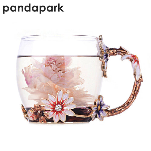 Pandapark Creative Vintage Enamel Glass Mug Pink Flower Handgrip Style With Spoon Luxury Tea Cup Tumbler Coffee Mug Gift PPX023