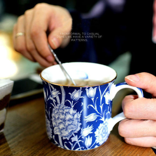 Mug Classical Lovers Coffee Mugs Milk Breakfast Flowers Cup Creative Cup as gift Bone China Refinement High Quality