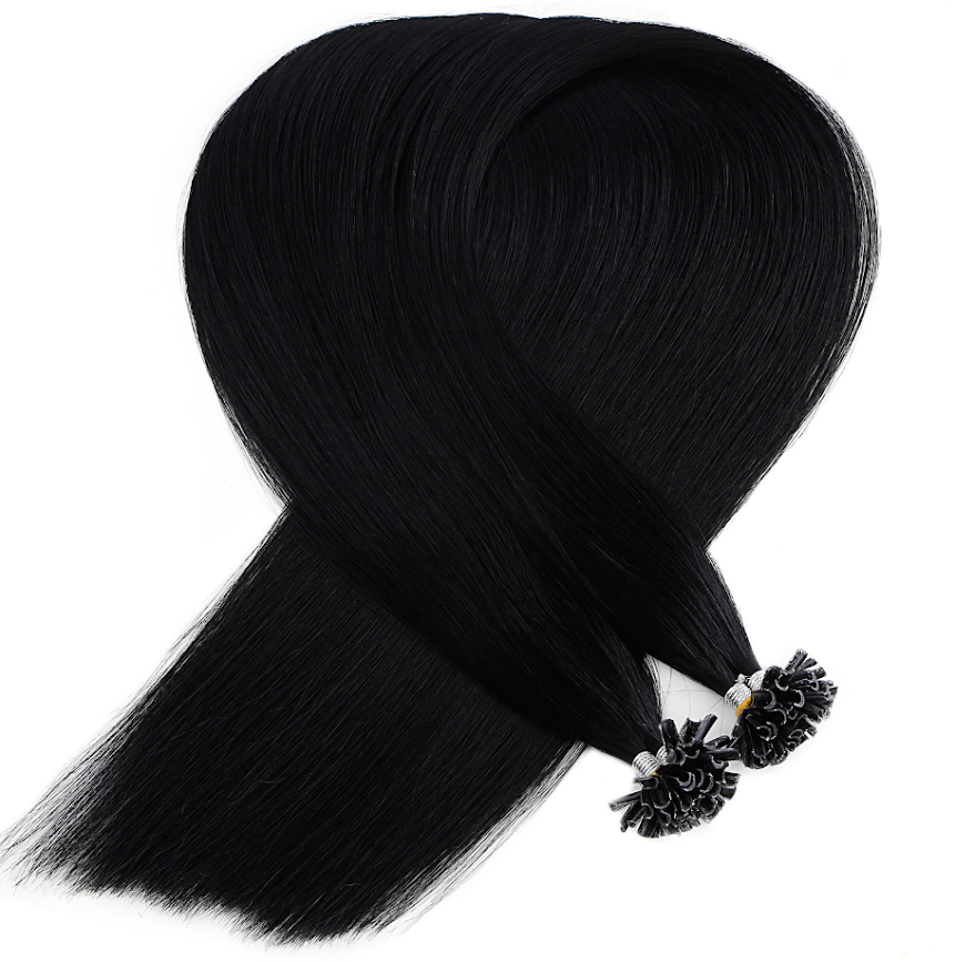 Off Black Keratin Bond Tip Hair Extensions
