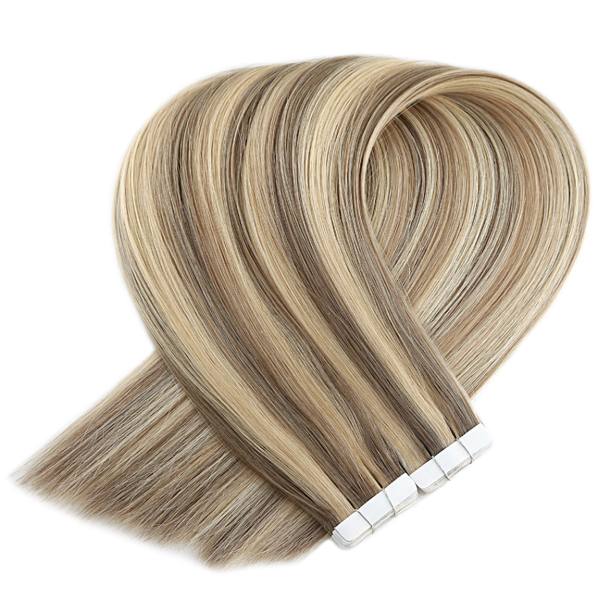Light Brown With Light Blonde Highlights Tape in Hair Extensions