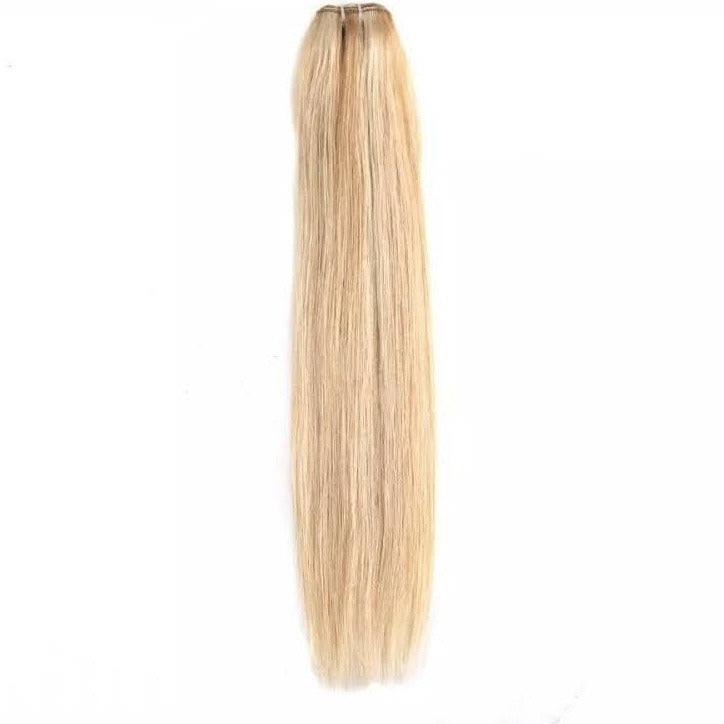 Honey Blonde With Golden Blonde Highlights Weft Hair Extensions
