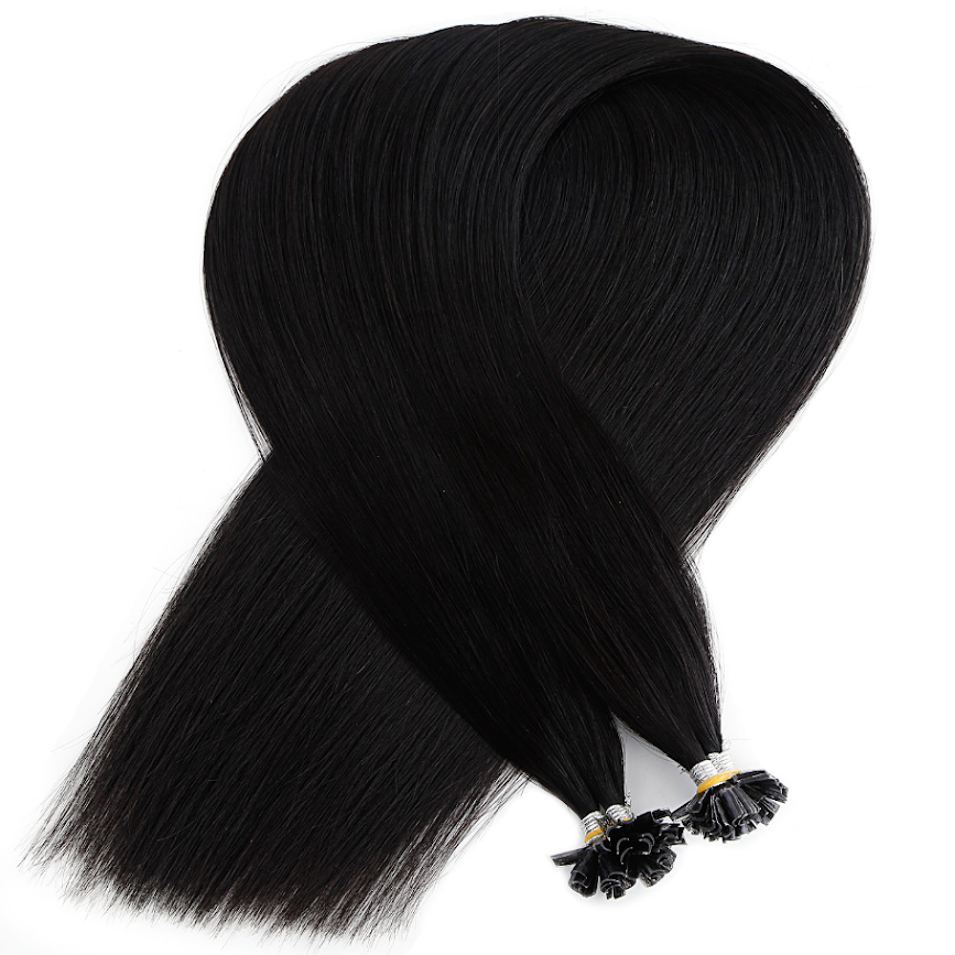 Dark Black Keratin Bond Tip Hair Extensions