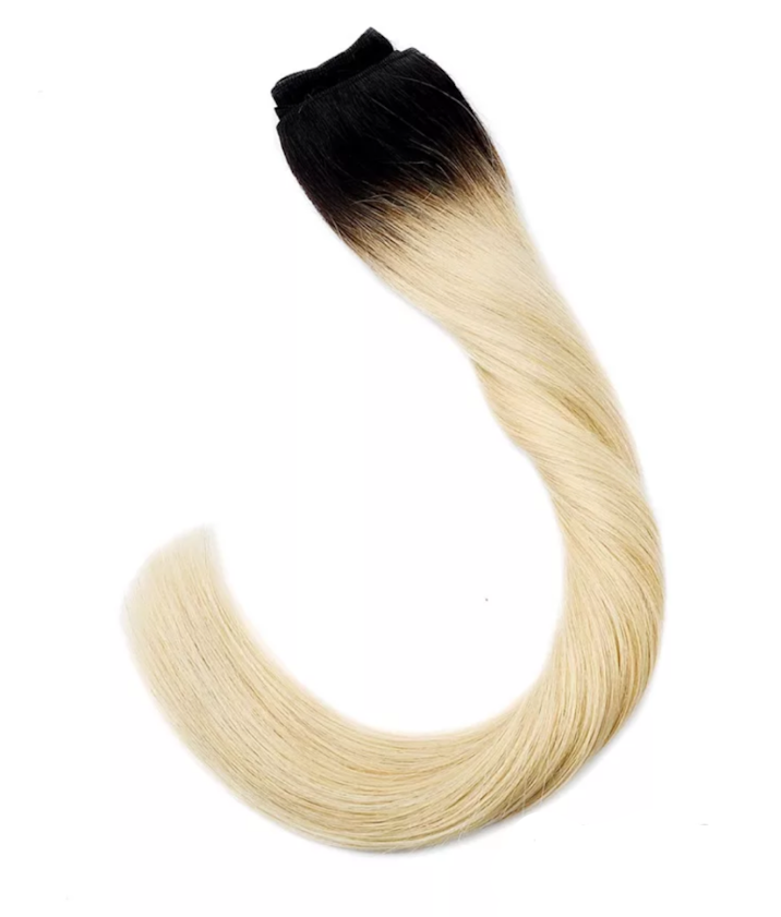 Dark Root to light Blonde Weft Hair Extensions