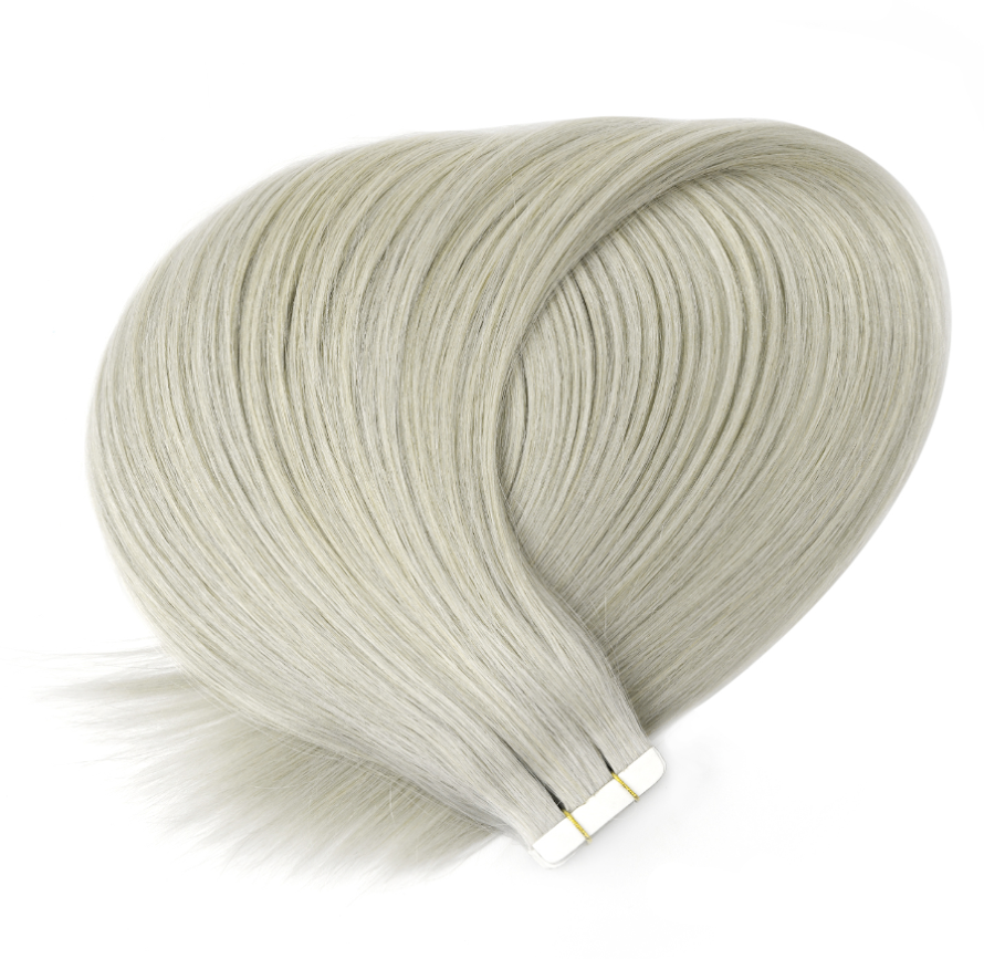 Lightest Ash Grey Tape in Hair Extensions