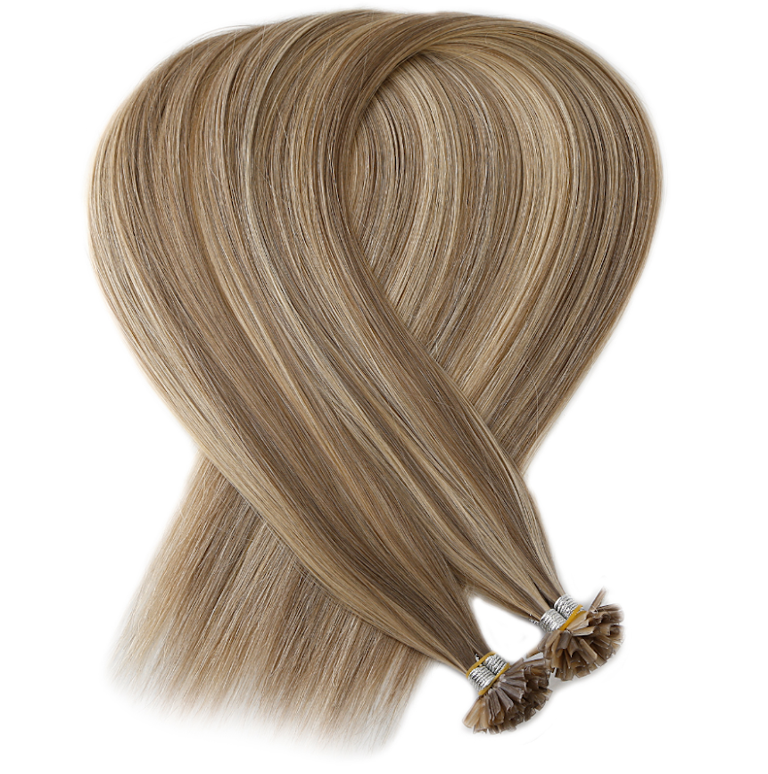 Light Brown With Light Blonde Highlights Keratin Bond Tip Hair Extensions