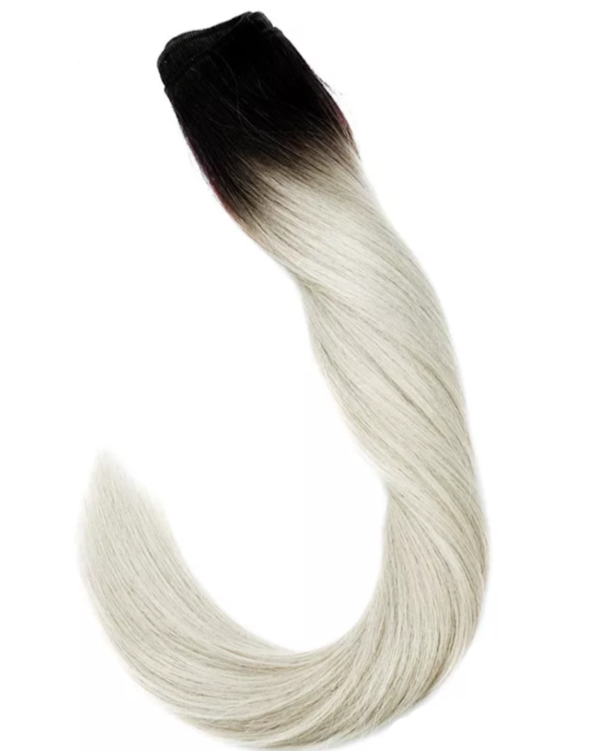 Dark root to Platinum Blonde Weft Hair Extensions