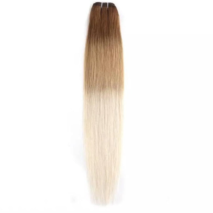 Ombre Light Chocolate Brown to Light Ash Blonde Weft Hair Extensions