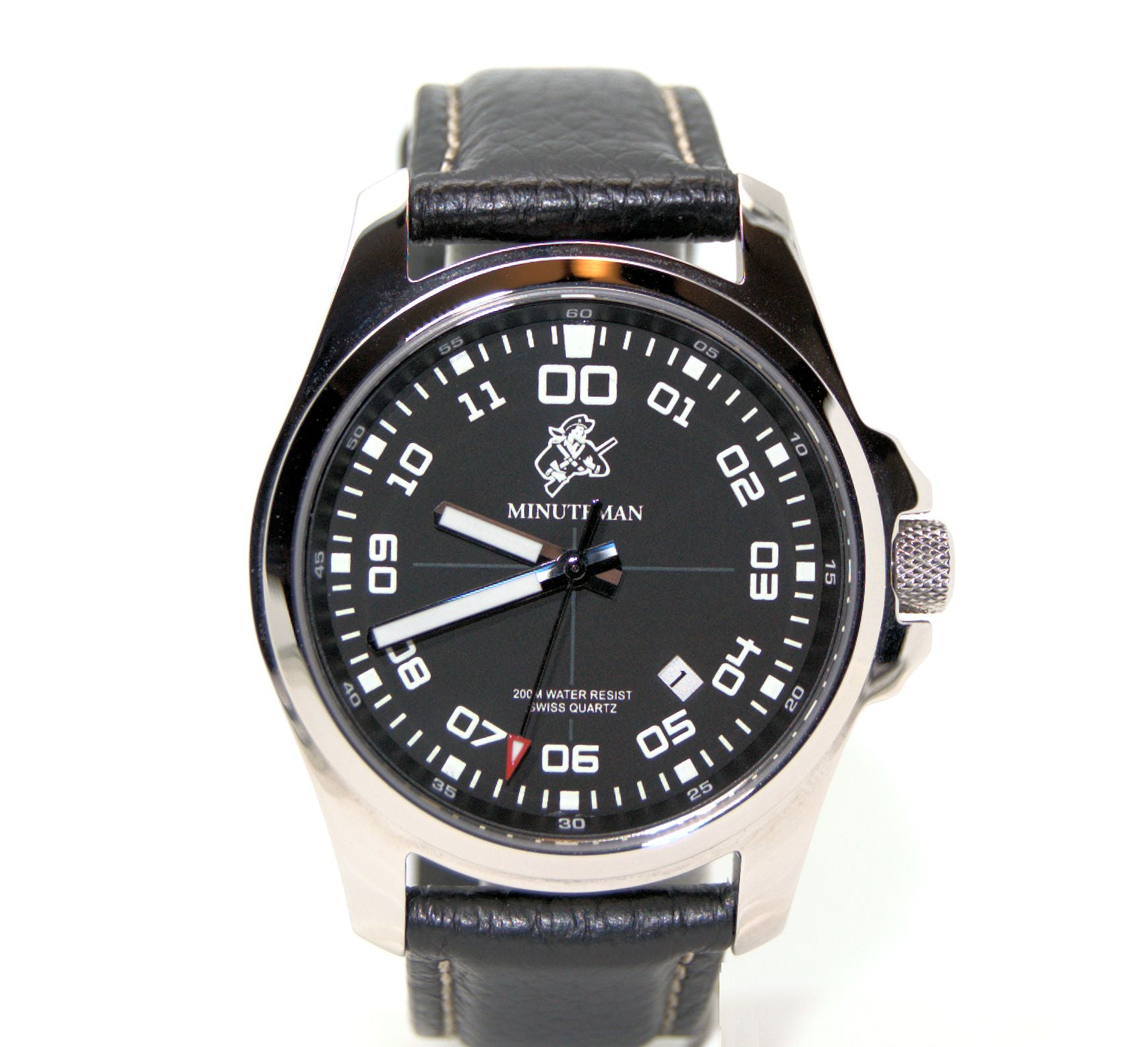Minuteman Self Winding MM04 Watch Black Leather Strap,minutemanwatches,Minuteman,Wrist Watch