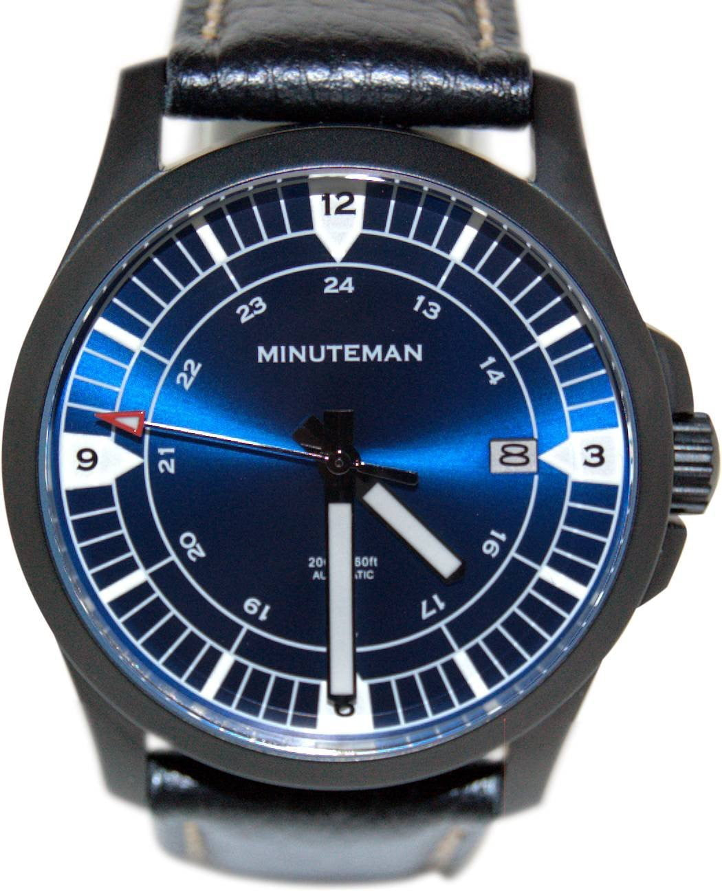 Minuteman RWB DLC finish leather strap wristwatch,minutemanwatches,Minuteman,Wrist Watch