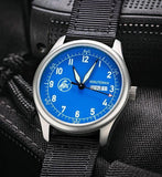Minuteman  A11 Field Watch Powered by Ameriquartz USA Movt Black Nylon Strap Electric Blue Dial