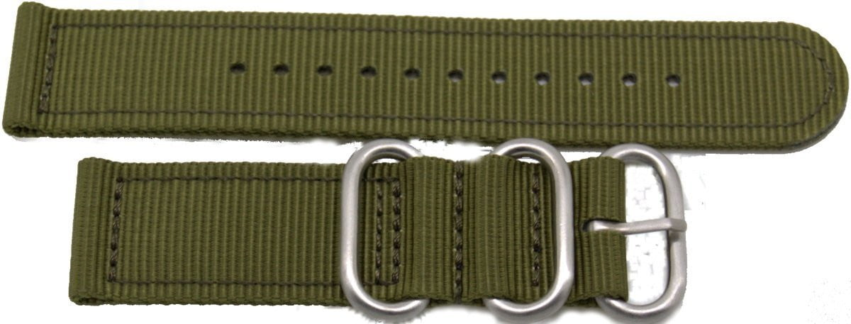 22mm 2 pc drab green military style nylon watch strap with heavy duty fittings